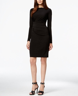 Michael Kors - Long-Sleeve Ruched-Waist Dress