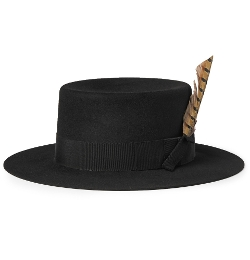 Saint Lauren - Feather-Trimmed Rabbit-Felt Fedora Hat