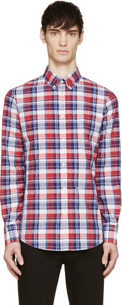 Dsquared2 - Red & Blue Seersucker Check Shirt