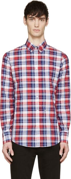 Dsquared2 - Red & Blue Seersucker Check Shirt