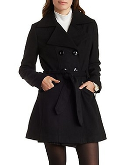 Charlotte Russe - Belted Wool-Blend Trench Coat