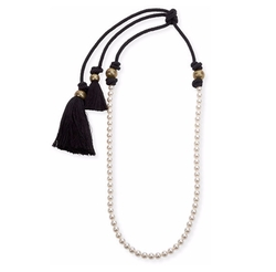 """Lanvin - Long Pearly Necklace with Tassel Ends, 39.5"""""""