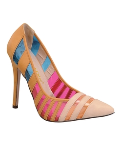 Chase & Chloe - Nude & Pink Stripe Palm Pump Shoes