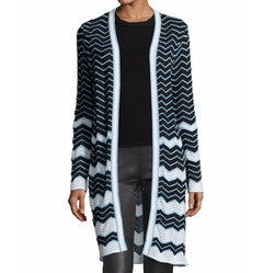 M Missoni - Long Cotton-Blend Zigzag Cardigan