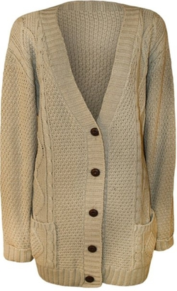WearAll  - Button Cable Knit Cardigan