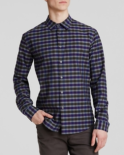 Vince  - Check Plaid Woven Button Down Shirt