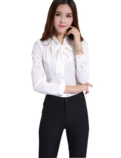 Give Me Five - Tie-Bow Neck Chiffon Blouse