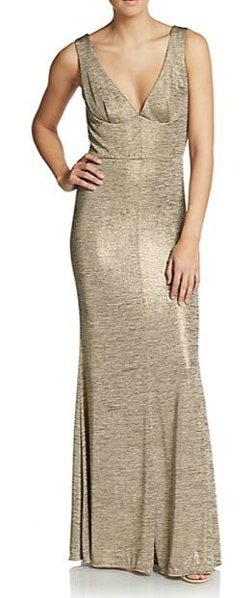 ABS  - Metallic Jersey Gown