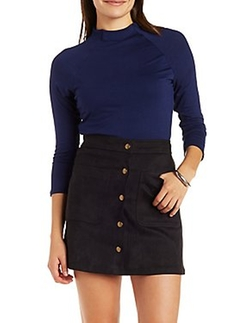 Charlotte Russe - Funnel Neck Top With Raglan Sleeves