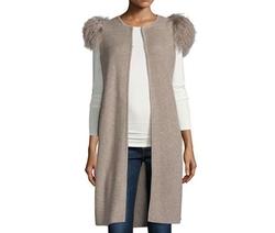 Neiman Marcus Cashmere Collection  - Mongolian-Shoulder Long Cashmere Vest