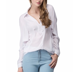 Persun - Wrap Placket Boyfriend Shirt