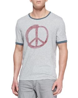 John Varvatos Star USA - Peace-Sign Graphic Ringer Tee