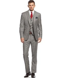 Tallia  - Plaid with Wine Deco Flannel Vested Slim-Fit Suit