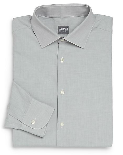 Armani Collezioni  - Textured Cotton Dress Shirt