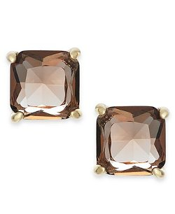 Ralph Lauren  - Gold-Tone Square Faceted Stone Stud Earrings