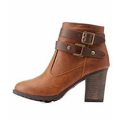 Charlotte Russe - Belted Chunky Heel Ankle Booties