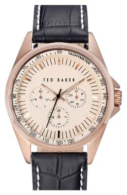 Ted Baker London - Multifunction Round Embossed Leather Strap Watch