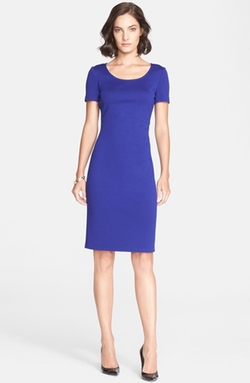 St. John Collection - Milano Knit Short Sleeve Sheath Dress