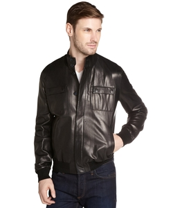 Fendi - Black Leather Ribbed Neck Button Up Jacket