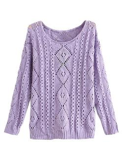 Choies - Purple Light Knit Jumper with Cut Out Detail