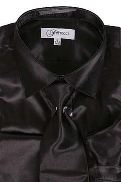 King Formal Wear - Satin Shiny Black Shirt