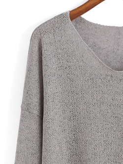 Romwe - V Neck Dip Hem Sweater