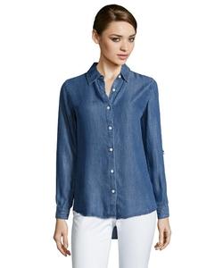 Wyatt  - Lyocell Chambray Point Collar Button Front Shirt