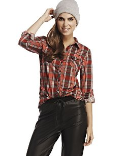Wet Seal - Long-sleeve Plaid Shirt
