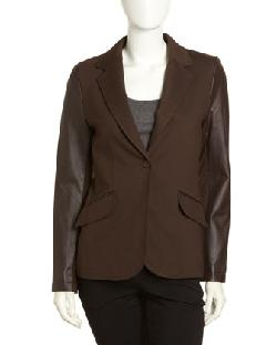 Neiman Marcus  - Ponte-Leather Blazer, Brown