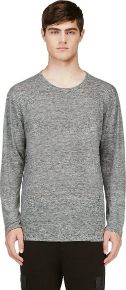 T By Alexander Wang - Grey Slubbed Linen T-Shirt