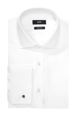 Boss - Cotton Textured Herringbone French Cuff Dress Shirt