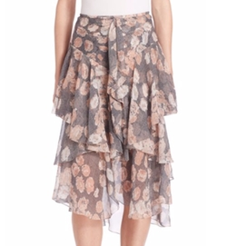 Jason Wu - Ruffled Floral Chiffon Skirt