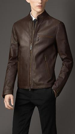 BURBERRY - Leather Racer Jacket