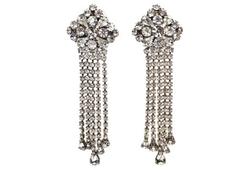 Vintage  - Clear Rhinestone Chandelier Earrings