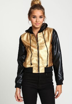 Love Culture  - Gold Hooded Leatherette Contrast Jacket