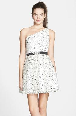 Hailey Logan  - Polka Dot Print Lace One-Shoulder Fit & Flare Dress