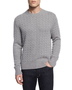 Tom Ford  - Melange Cable-Knit Cashmere-Blend Sweater