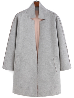 Romwe - Stand Collar Self-Tie Coat