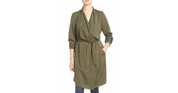 Kensie  - Belted Drape Front Trench Coat