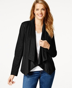 Style & Co. - Faux-Suede Draped Jacket