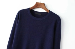 Romwe - Round Neck Long Sleeve Navy Sweater
