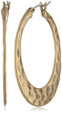Lucky Brand  - Large Gold-Tone Hammered Hoop Earrings