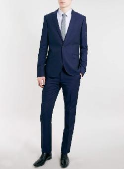TOPMAN - NAVY TONIC SKINNY FIT JACKET