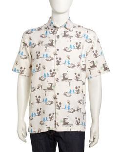 Neiman Marcus  - Surfer-Print Short-Sleeve Sport Shirt
