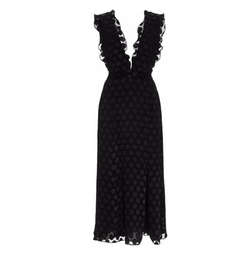 Cushnie et Ochs - Satin Dot V-Neck Dress