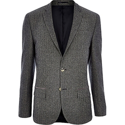 River Island - Herringbone Wool-Blend Slim Blazer