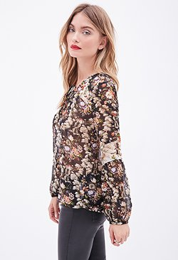 Forever 21 - Floral Chiffon Peasant Blouse