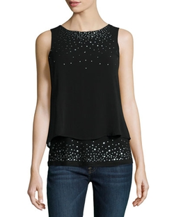 Design History  - Studded Chiffon Illusion Tank Top