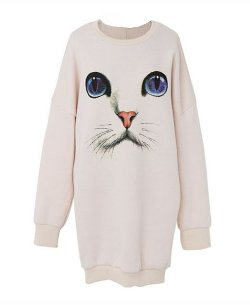 ChicNova - Oversized Cat Graphic Sweater
