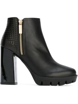 Pollini   - Block Heel Zip Ankle Boots